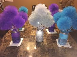 how to make centerpieces disney frozen centerpiece glitter jars with tulle pom pom