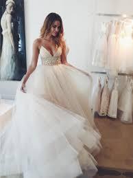 tulle wedding dress gown spaghetti straps sleeveless court tulle