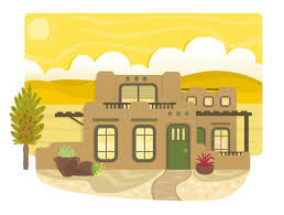pueblo style house plans pueblo style house stock vector illustration of plants 57033035