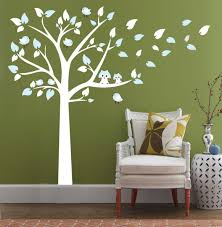 white tree wall decal with light blue leaves cute owl wall decor white tree wall decal with light blue leaves cute owl wall decor diy vinyl mural wall stickers for children bedroom living room decoration amazon co uk