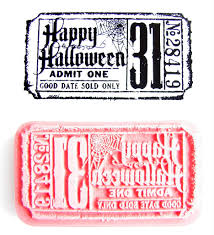 halloween stamp happy halloween admit one ticket stamp rubber cling mount stamp