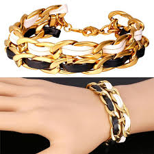 bracelet leather gold images 2018 u7 rock chain leather bracelet for women men jewelry trendy jpg