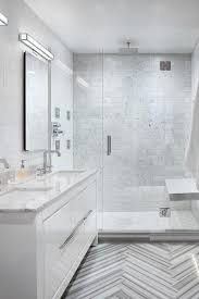 Modern Bathroom Floor Gray Marble Chevron Floor Tiles With White Lacquer Vanity Modern
