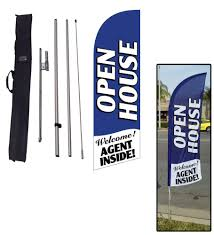 Flag Stands Outdoor Amazon Com 6 5ft Real Estate Open House Feather Banner Flag