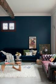 perth peacock blue sofa living room eclectic with black accent