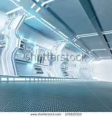 Futuristic Design Futuristic Design Spaceship Interior Metal Floor Stock
