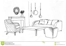 graphical sketch of an interior living room stock images image