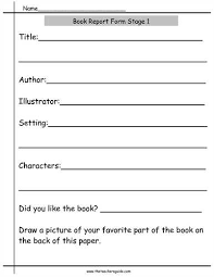 kindergarten book report worksheet related
