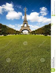 Beautiful Eiffel Tower by Beautiful Eiffel Tower With Huge Grass Copy Space Stock