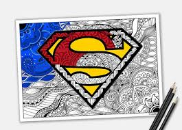 superman coloring zentangle superhero printable