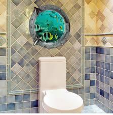 ocean view tortoise fish 3d wall sticker bathroom decals sea wall
