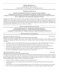 Resume Samples For Teaching Job by Free Special Ed Teaching Resume Example Elementary Resume