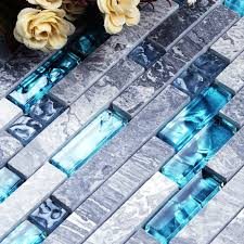 kitchen backsplash tiles for sale aliexpress com buy grey marble sea blue glass mosaic wall
