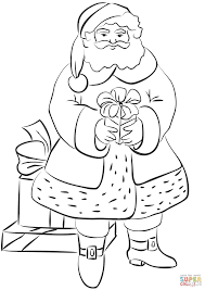 santa claus with gifts coloring page free printable coloring pages