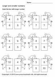 preschool larger number math worksheets