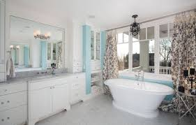 Fabric Drapes Bathroom In Blue And White With Toile Fabric Drapes That Anchor