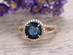 gold rings london images London blue topaz engagement ring 8mm round cut stone split shank jpg