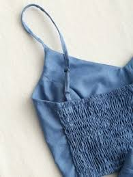 denim blue smocked crop cami top and skirt set denim blue two piece outfits