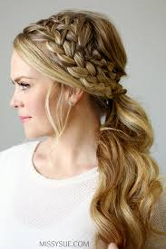hair braided into pony tail double braided ponytail