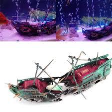 Aquarium Decorations Wreck Sunk Ship Plactic Boat Air Split
