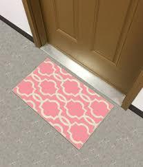 trendy pink ivory moroccan trellis non slip doormat rug