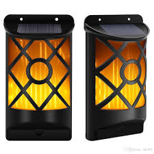 wall mounted night light 2018 66 led solar waterproof flickering flames wall lights outdoor