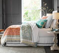 Green Double Duvet Cover Claire Scarf Duvet Cover U0026 Sham Pottery Barn