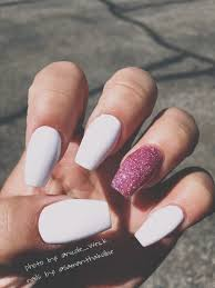 love these matte white nails with sparkly pink ballerina shoe