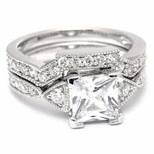 diamond wedding ring sets princess cut cz diamond sterling silver wedding ring set