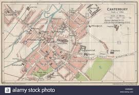 canterbury cathedral floor plan canterbury vintage town city map plan kent 1930 stock photo