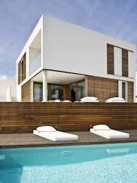 modern high end decorative cinder block wall with modern pool can