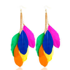 feather earrings online rongqing 2016 fashion bohemian feather earrings colorful feather