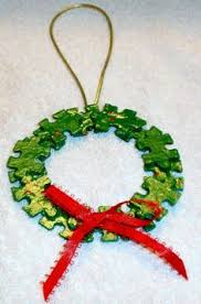 how to make a wreath using puzzle pieces trees crafts and