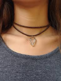 double chain necklace choker images Chocolate brown leather suede double wrap choker necklace with a jpg