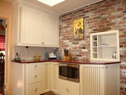 design ideas great faux brick wall with stainless steel range