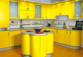 Yellow Kitchen Cabinet Yellow Kitchen Cabinets With Grey Walls And Unique Small Island