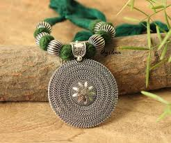 silver necklace sets images Green ethnic oxidized silver plated thread handmade necklace set jpg