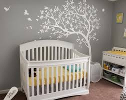 Large Nursery Wall Decals White Tree Decal Large Nursery Tree Decals With Birds Unisex