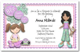 bff sleepover girls party invitations teenage birthday invitations