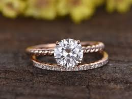 gold wedding ring sets carat moissanite solitaire engagement ring set diamond and