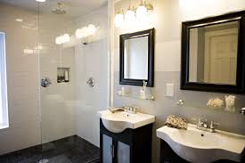 Vanity And Mirror Small Shower Room Separated By Glass Divider Room At Modern