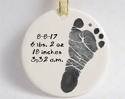 tractor baby footprint ornament w decorative ribbon using