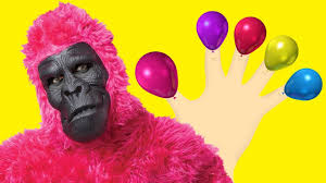 gorilla balloons learn colors with bad baby gorilla balloons and finger family