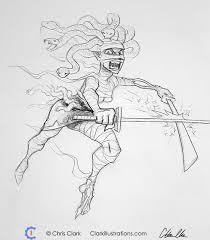 mummy zombie medusa ninja sketch drawing sketchbook katana