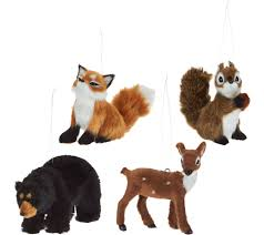 set of 4 miniature woodland animal ornaments page 1 qvc