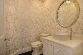 traditional powder room with slate floors u0026 interior wallpaper in