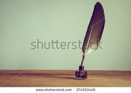 Quill Conference Table Quill Pen Inkwell On Wooden Desk Stock Photo 680918755 Shutterstock