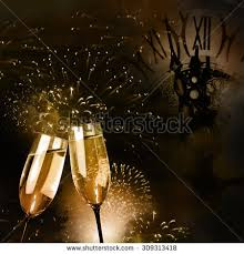 new years chagne glasses chagne glasses fireworks new year clock stock photo 309313418