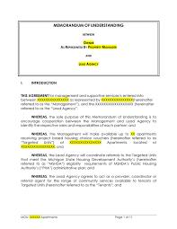 memorandum of understanding template download free documents for