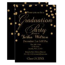 graduation invite black gold graduation invitations announcements zazzle